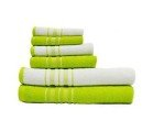 Spaces 6 Piece Cotton Towel Set - Lime and White