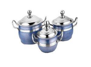Airan Blue Stainless Steel Handi Set of 3