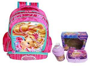 Barbie Pink Children's Backpack, Violet Water Bottle and Violet Lunch Box Combo set
