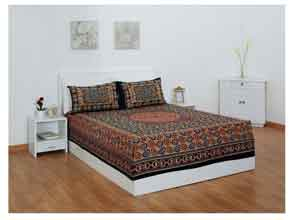 Story@Home 120 TC 100% Cotton Brown 1 Double Bedsheet With 2 Pillow Cover