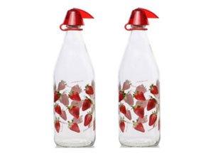 Herevin Strawberry Water Bottle Set 1 Litre Set of 2