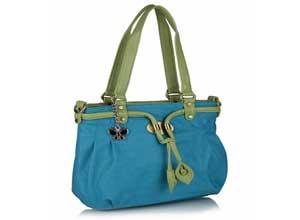 Butterflies Handbag Blue and Green