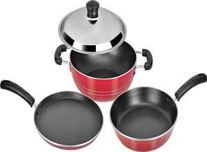 Tosaa Super Deluxe Induction Base Non-Stick Kitchen Set, 3-Pieces