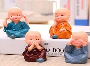 4 Beautiful Miniature Baby Buddha Decorative Showpiece