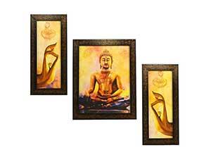 Indianara 3 PC Set of Gautam Budha Paintings