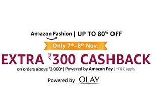 Amazon fashion Extra Rs.300 Cashback