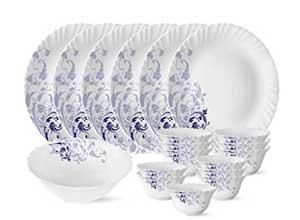 Borosil Blue Silk Series Dinner Set 19 Pieces